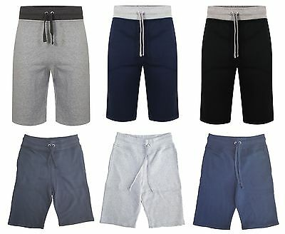 Mens Boys Cheap Fleece Contrast Plain 3/4 Length Summer Shorts Elasticated Waist
