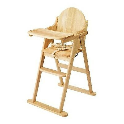 East Coast Folding Baby Highchair Natural All Wood Antique Finish New Free Post