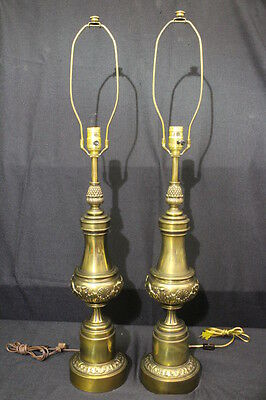 """PAIR Stiffel 1960's Neoclassical Style Table Lamps; Antique Brass Finish 36"""""""