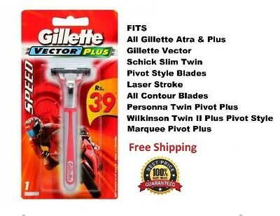 Red Gillette Vector Fits Atra Plus Schick Slim Twin Razor blades Handle Shaver