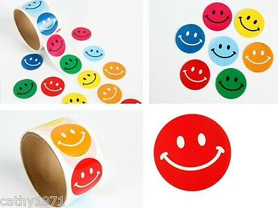 Lot of 24 Colourful Smiley Round Stickers - For Christmas Stockings & Parties