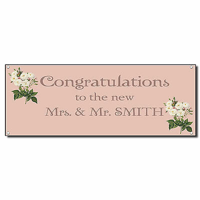 Wedding Marriage Congratulations Couple Pink Custom Vinyl Banner Sign Grommets