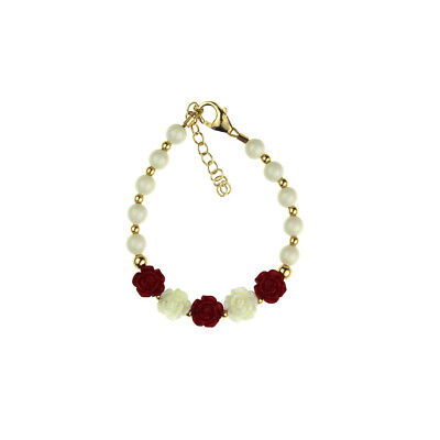 White Pearls with Gold Beads & Red Flowers Bracelet