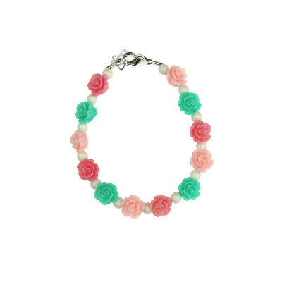 Mint, Pink & Rose Flowers with White Pearls Bracelet