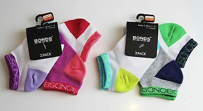 3 PACK BONDS Baby SOCKS Boys Girls Low Cut  White Green Pink Purple 0-2 years