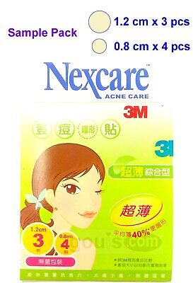 3M Nexcare ACNE CARE Patches / Stickers Sample Pack - 7 pcs (Combo 1.2cm+0.8cm)