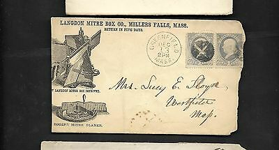 pk19115:USA Cover-Langdon Mitre Box Co Millers Falls,Mass with pair 1ct Franklin