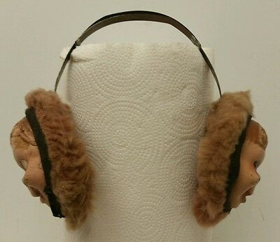 """Vintage 1950s Era Celluloid """"Howdy Doody"""" Faux Fur Collectible Child's Ear Muffs"""