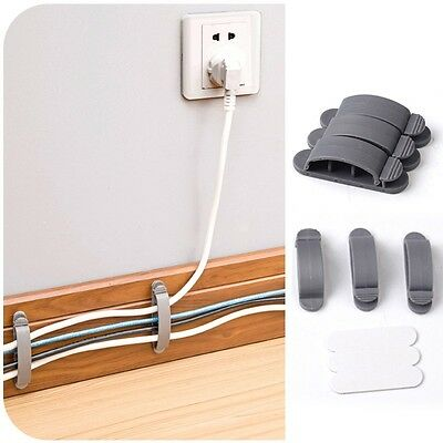 3 Pcs Desk Tidy Organiser Wire Cord Lead Drop Clips USB Cable Charger Holder