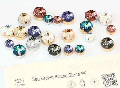 Genuine SWAROVSKI 1695 Sea Urchin Round Crystals with Sew On Metal Settings