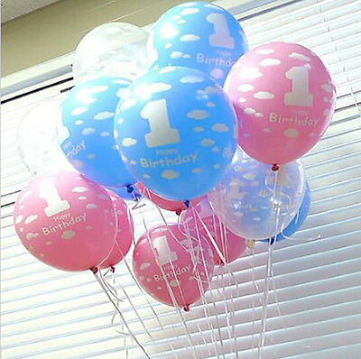 10pcs Baby Number 1 Printed Boy Girl Ballons Decor Party First Birthday New 1st