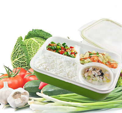 Leakproof Rectangular Lunch Bento Box Microwave Food Container 4 separate spaces