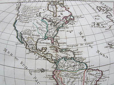 Vaugondy: Original Engraved Map North and South America  - 1795