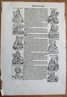 Incunable Leaf Schedel Liber Chronicorum Monster Bishop - 1493