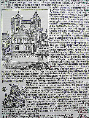 Incunable Leaf Schedel Liber Chronicorum Rhodos Dante King Bohemia - 1493