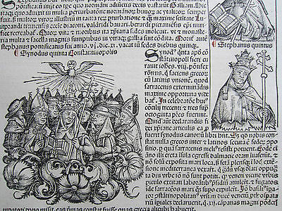 Incunable Leaf Schedel Liber Chronicorum Synod Constantinople - 1493