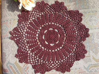 Vintage Maroon Cotton Hand Crochet Lace Flower Doily / Topper Round 30cm