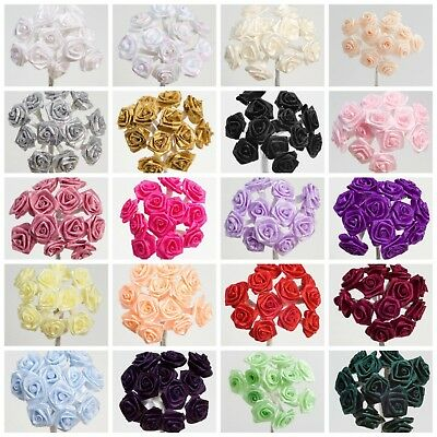 Bunch 12 Stems - 15mm Ribbon Rose Flower Spray Favour Craft Card Decoration