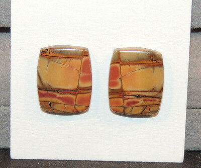 Painted Creek Jasper Cabochons 16x12.5mm with 4mm dome set of 2 (10913)