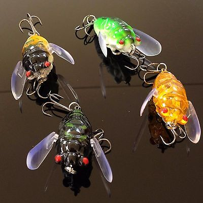 4 winged cicada surface lure walker bug bass trout topwater popper Fishing Lures