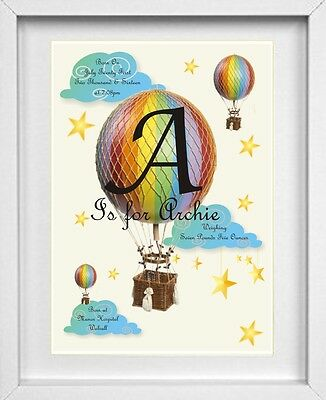 BABY BOYS NAME | Personalised Picture | Hot Air Balloon | FREE POST | (NP107)