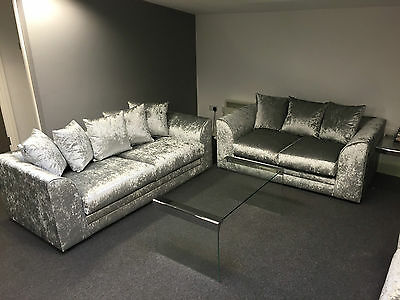 Dylan/Chicargo 3+2 Seater Sofa In Crushed Velvet/Silver - UK Manufacturered