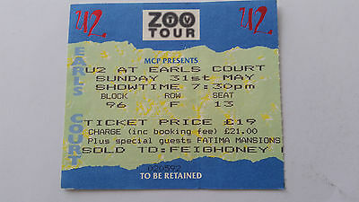 """U2 """"ZOO TV TOUR"""" EARLS COURT LONDON MAY 31ST 1992 Ticket"""