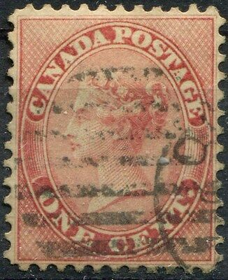 Canada #14viii 1c Rose 1859-64 First Cents Issue Perf. 11.75 x 12 - VF-84 Used