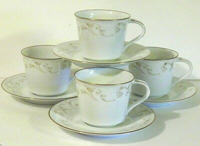 "Noritake China "" Duetto"" 6610 Cups and Saucers set of 4  EC"