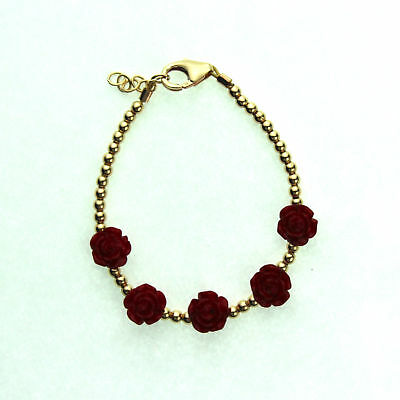 Gold Filled 14KT Mini Beads and Red Flower Beads Bracelet