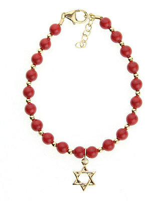 Star of David Charm Bracelet with Red Coral Swarovski Pearls with 14kt Gold fill