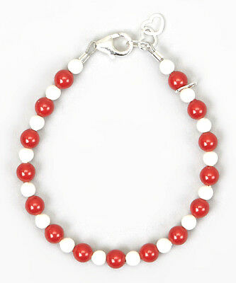 Red and White Coral Pearls Beaded Bracelet