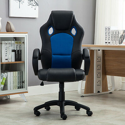 Racing High Back Office Chair PU Leather Computer Desk Gaming Swivel Wheel Seat
