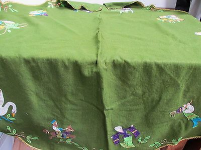 Vintage FABULOUS Green Felt & Sequin Appliques Tree Skirt with Gold Trim 57""