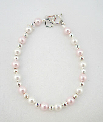 Baby Bracelet with White and Pink Swarovski Pearls and Sterling Silver Mini Bead