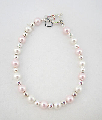 White and Pink Swarovski Pearls with Sterling Silver Mini Beads Bracelet