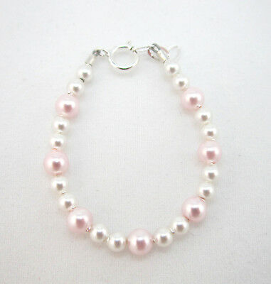 White and Pink Swarovski Pearls Bracelet