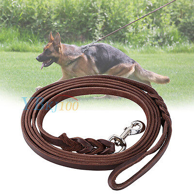 New Durable Soft Braided Leather Dog Pets Leash Lead for Training Walking Dog