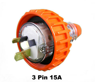 GEN3 15 AMP 3 Pin Flat Industrial Electrical Captive Plug IP66