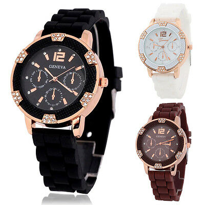 Women Silicone Rhinestones Bracelet Jelly Quartz Analog Dress Dress Wrist Watch