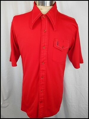 Vintage 60s 70s Bright Red Polyester Short Sleeve Carl Michaels Body Shirt Large