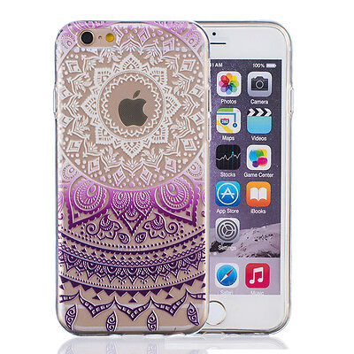 Henna Floral Mandala Soft Clear Tpu Case Transparent Cover For Apple / Samsung