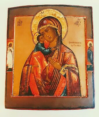 Rare  Hand Painted Antique Russian  Icon Of Fedorovskaya Mother Of God