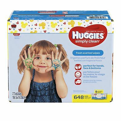 Huggies Simply Clean Baby Wipes Fresh Scent Soft Pack 648 Ct (Packaging May V...