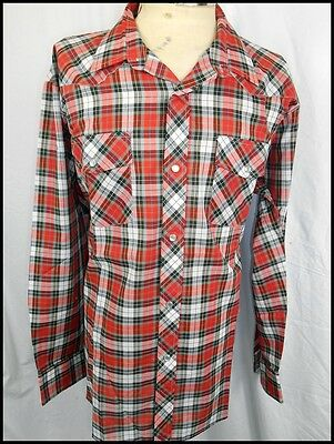 Vintage 70s Red White Black Plaid Poly/Cotton Western Shirt Pearl Snaps XL NOS