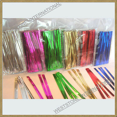 "100 pcs 4"" Metallic Twist tie for Cello Candy Bag"