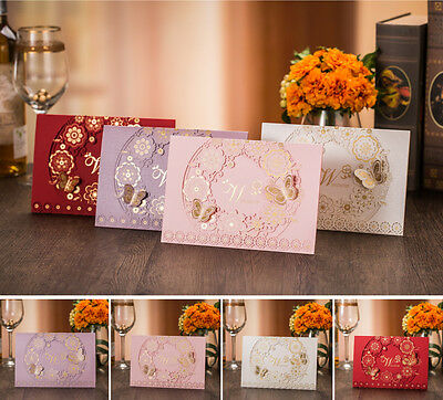 50 x Laser Cut Butterfly Wedding Invitations Party Invites Blank Cards Envelope