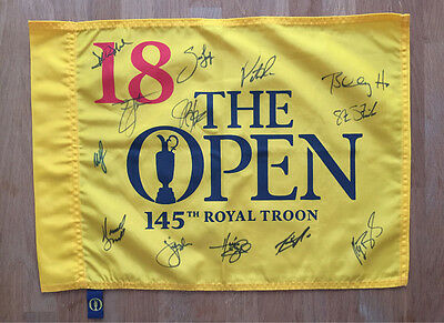 The Open Golf Flag Multi SIgned by 13 Americans USA Players Autograph AFTAL COA