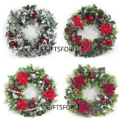 40cm Plastic Holly & Poinsettia Christmas Wreath Artificial 4 designs