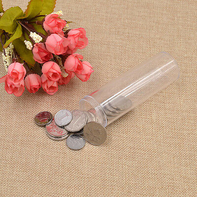 Plastic Round Portable Storage Tube New Clear Coin Holder Container Box